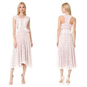 Alexis Aldridge Cut Out Ruffle Lace Midi Dress
